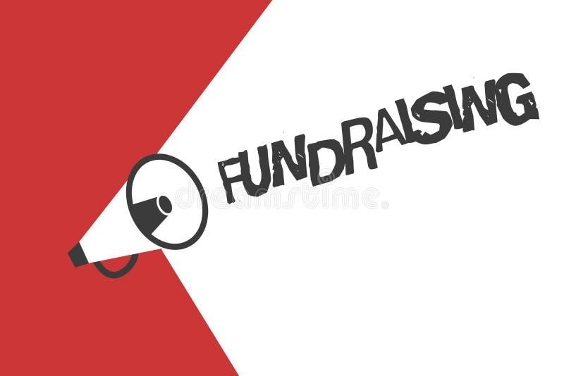 Mittel beschaffendes Wortschreibenstext Geschäftskonzept für das Suchen der finanziellen Unterstützung für Nächstenliebeursache o stock abbildung