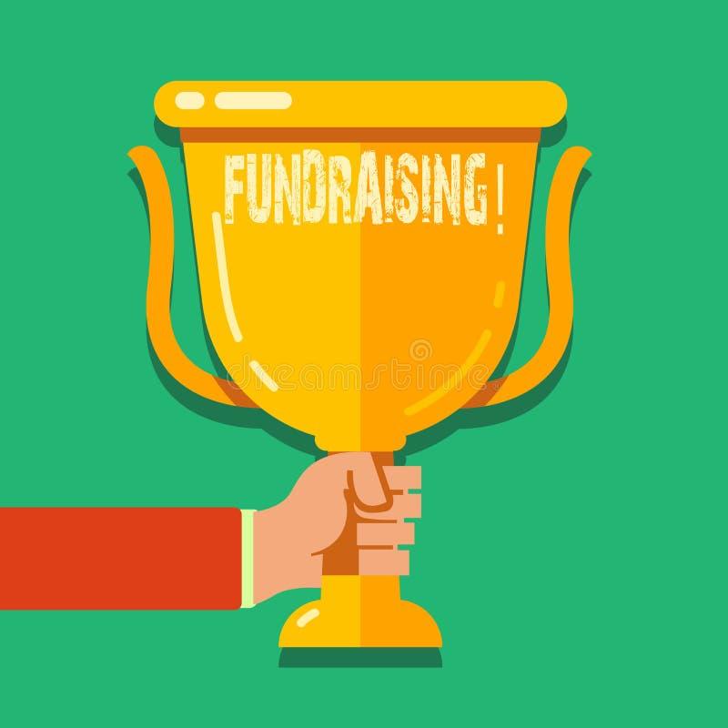 Mittel beschaffendes Wortschreibenstext Geschäftskonzept für das Suchen der finanziellen Unterstützung für Nächstenliebeursache o lizenzfreie abbildung
