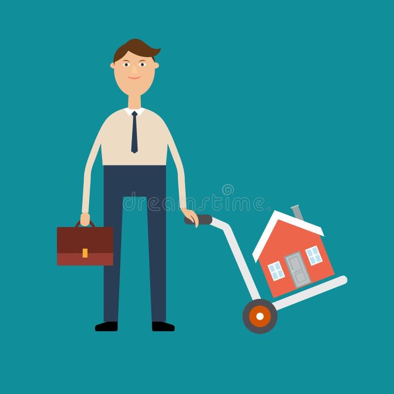 Mittel für den Verkauf von Immobilien oder von Hauskäufer, der einen Hafen hält stock abbildung