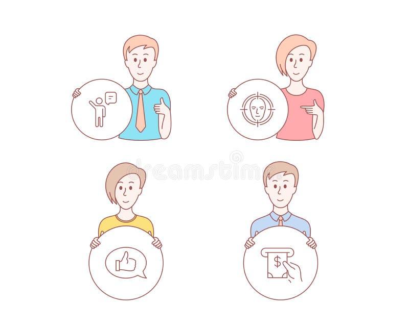 Mittel, Gesicht ermitteln und Feedbackikonen ATM-Service-Zeichen Geschäftsperson, ausgewähltes Ziel, Spracheblase Vektor stock abbildung
