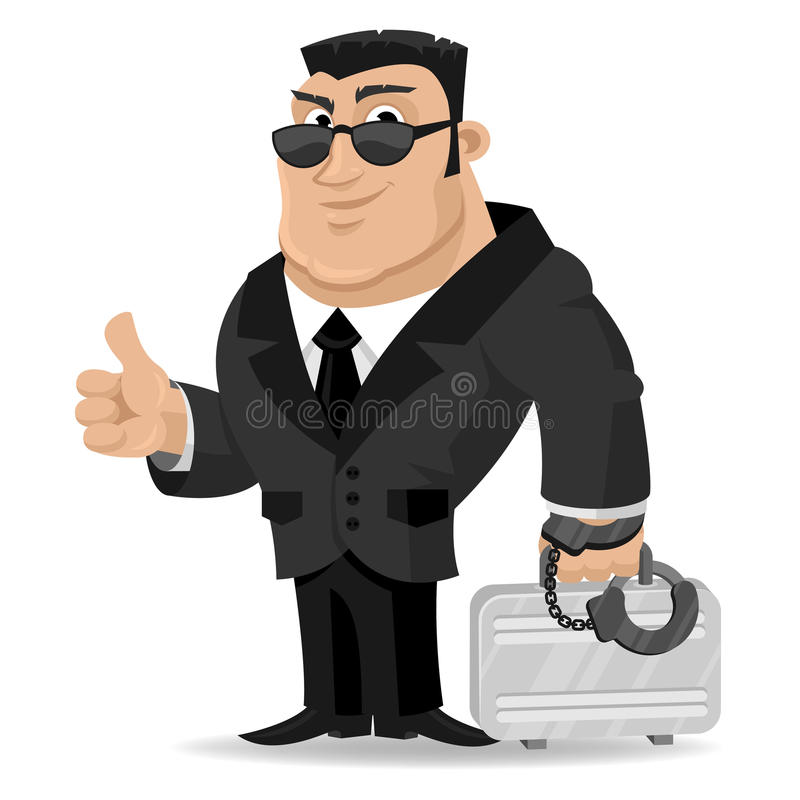 Mittel hält Koffer in den Handschellen stock abbildung