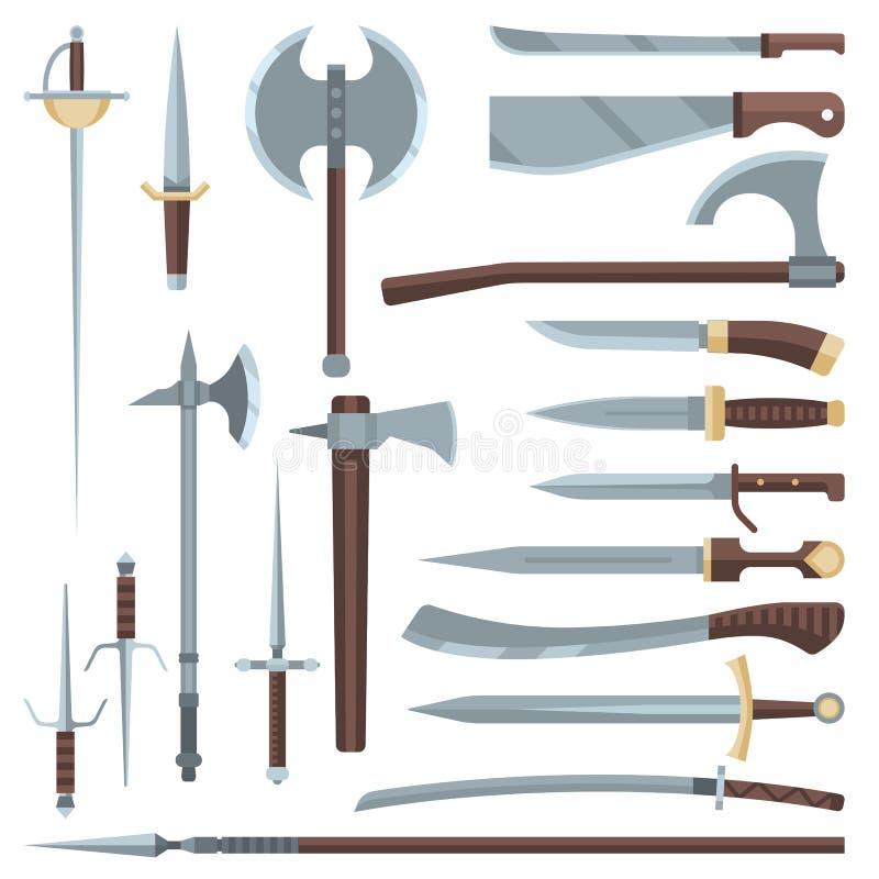 Mittelalterliche alte Waffe des Klingenvektors des Ritters mit Broadswordsatz Illustration der scharfen Klinge und des Piratenmes stock abbildung