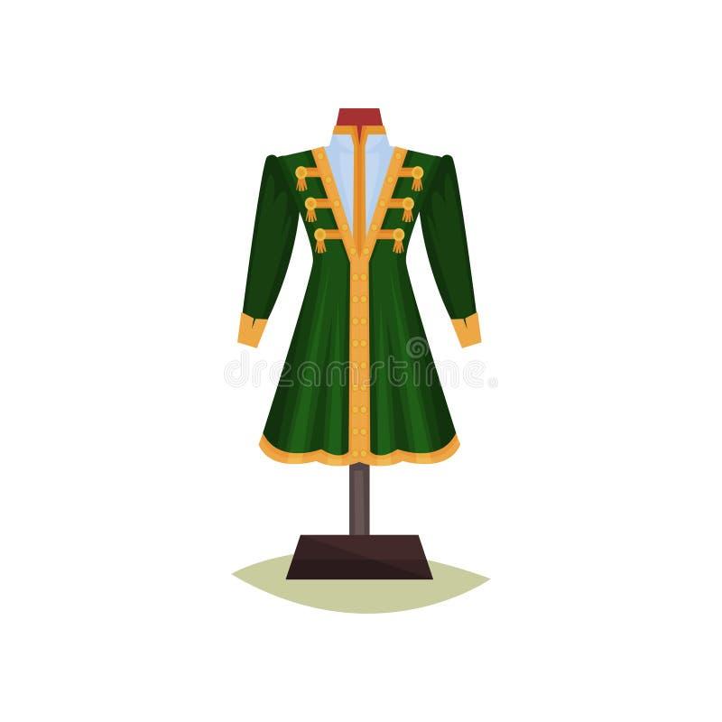 Mittelalterliche europäische männliche Kleidung Grüner Mantel mit gelben Knöpfen Jacke auf Mannequin Museumsausstellung Flaches V lizenzfreie abbildung