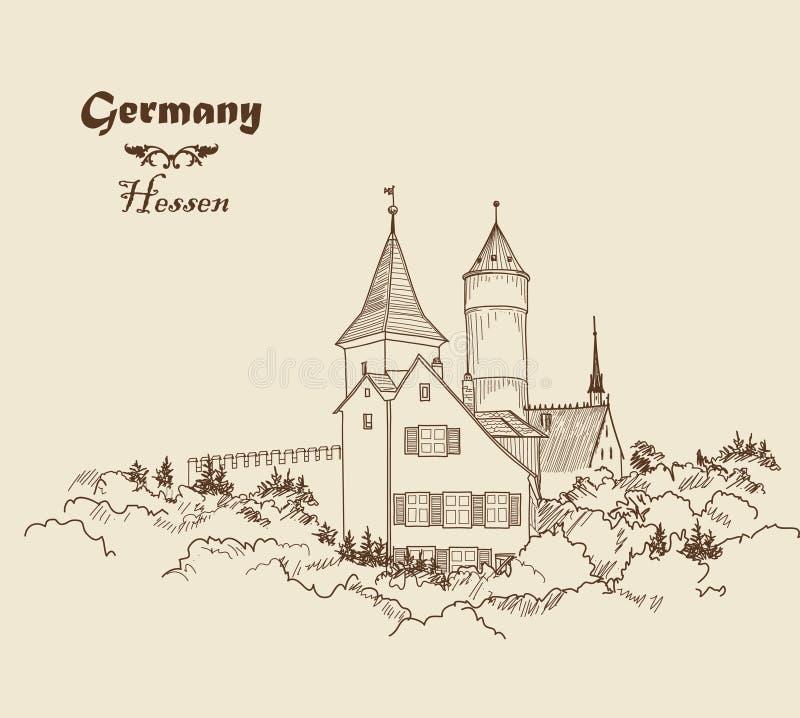 Download Mittelalterliche Europaische Schlosslandschaft Zeichnen Sie Gezogene Skizze Des Alten Gebaudes Mit Turm An Stock Abbildung