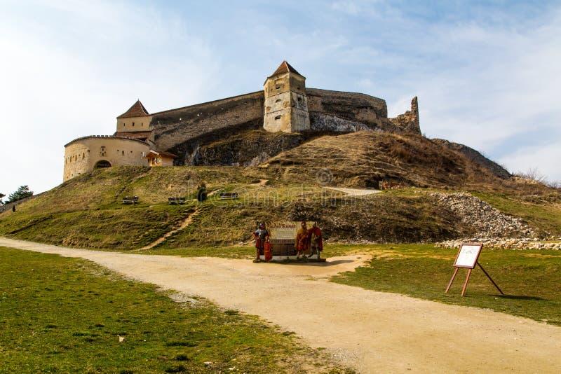 Mittelalterliche Festung in Rasnov, Rumänien stockbild