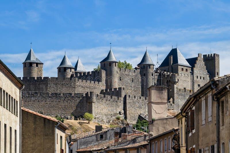 Mittelalterliche Festung von Carcassonne stockfotografie