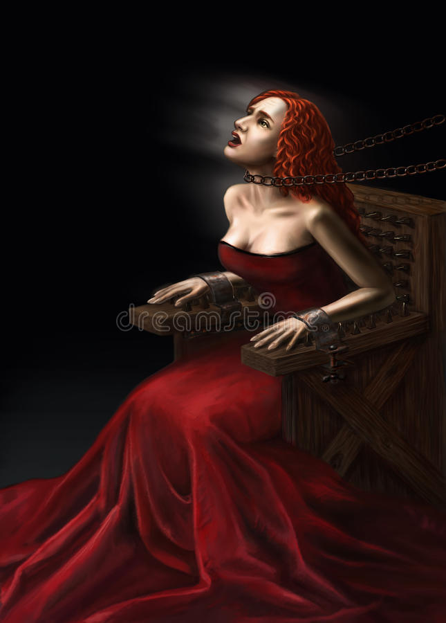 Mittelalterliche Folterung der Hexen stock abbildung