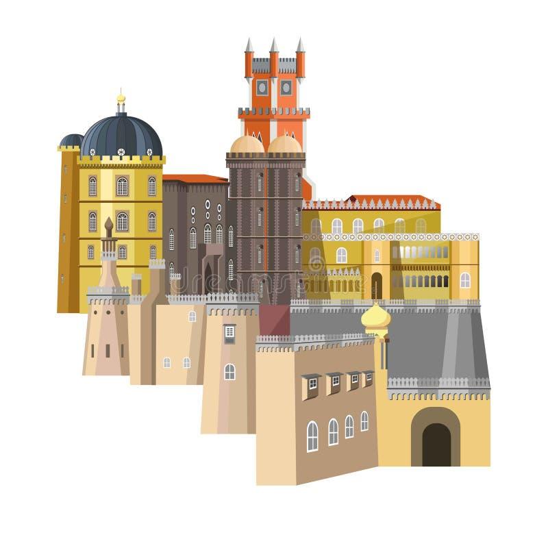 Mittelalterliche Gebäude mit ungewöhnlicher Struktur und Reiche entwerfen vektor abbildung