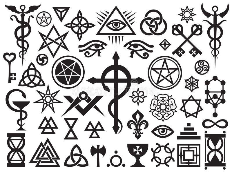 Mittelalterliche geheimnisvolle Zeichen und Magie-Stempel stock abbildung
