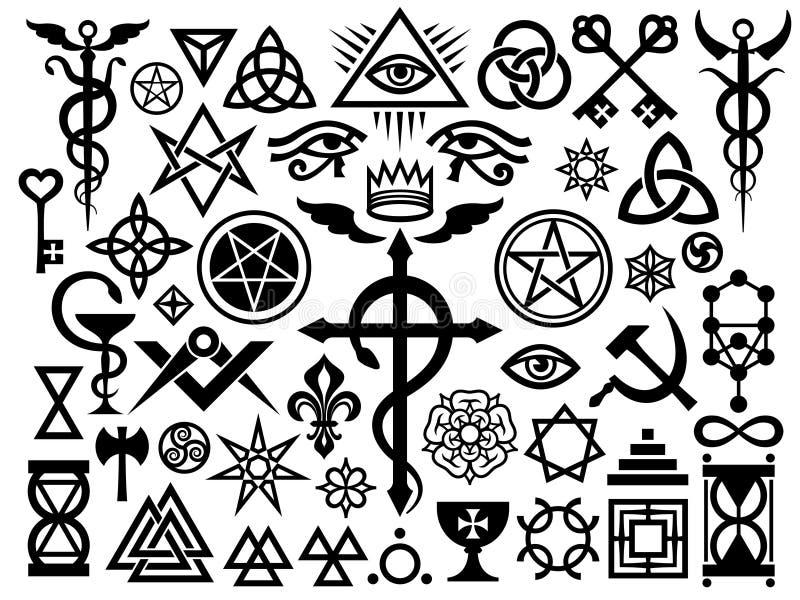 Mittelalterliche geheimnisvolle Zeichen und Magie-Stempel vektor abbildung