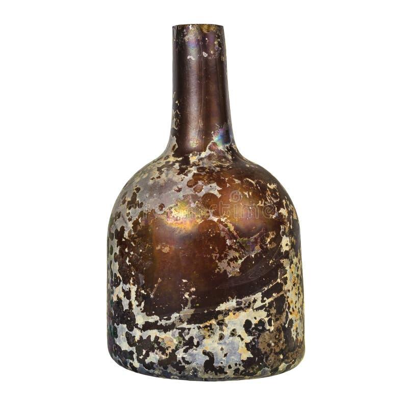 Mittelalterliche Glasflasche lokalisiert auf Weiß lizenzfreies stockfoto