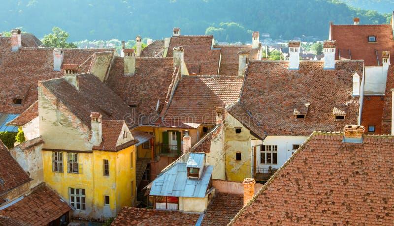 Mittelalterliche Häuser in Sighisoara, Rumänien-Überblick