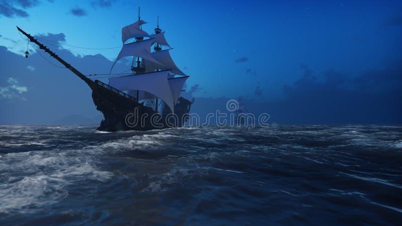 Mittelalterliche hölzerne Boote auf dem Meer im Nebel Piraten, die hinunter das Meer auf einem Schiff segeln Wiedergabe 3d stock abbildung