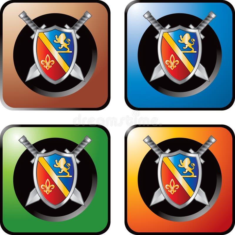 Mittelalterliche Klingen und Schild auf farbigem Web knöpft stock abbildung