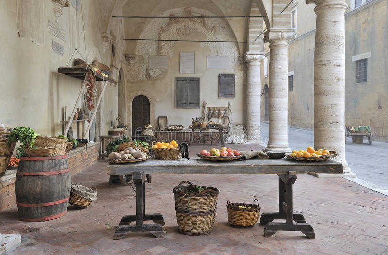 Mittelalterliche Marktszene stockfotos