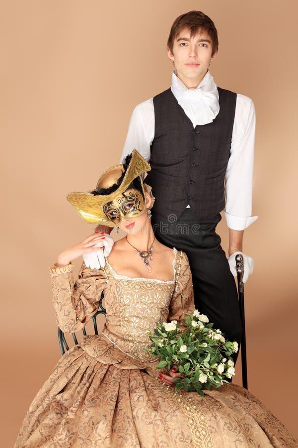 Mittelalterliche Paare stockfotos