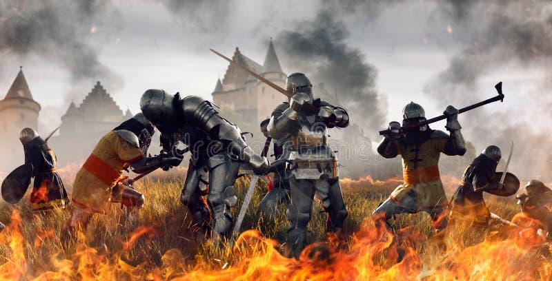 Mittelalterliche Schlacht der Ritter in Brand lizenzfreie stockfotografie