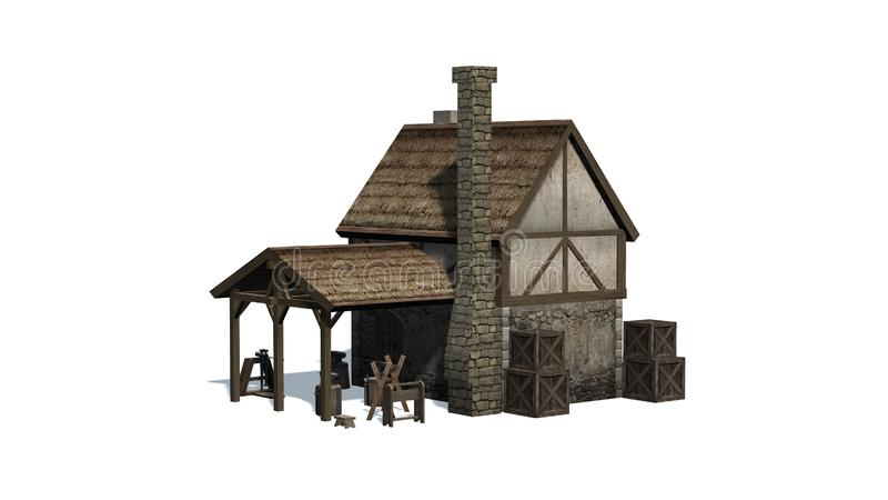 Mittelalterliche Schmiede in der Vorderansicht stock abbildung