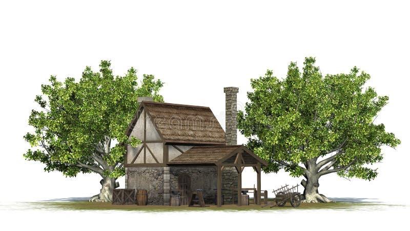 Mittelalterliche Schmiede zwischen Bäumen - hintere Ansicht stock abbildung