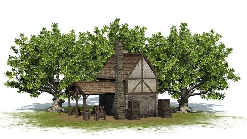 Mittelalterliche Schmiede zwischen Bäumen - Vorderansicht vektor abbildung