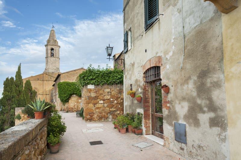 Mittelalterliche Stadt Pienza, Toskana, Italien lizenzfreie stockfotos