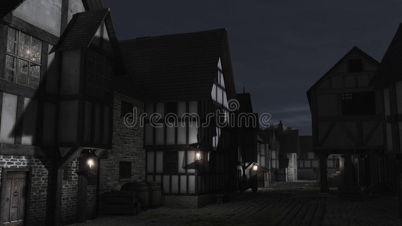 Mittelalterliche Stadtstraße nachts vektor abbildung