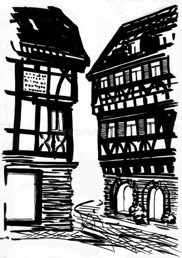 Mittelalterliche Straßenzeichnung Stock Abbildung - Illustration von ...