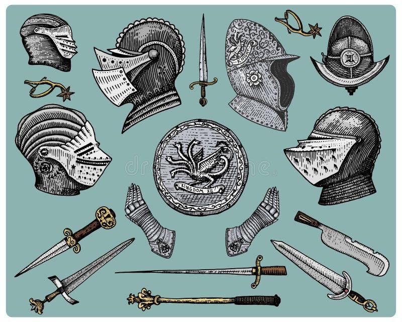 Mittelalterliche Symbole, Sturzhelm und Handschuhe, Schild mit Drachen und Klinge, Messer und Muskatblüte, Spornweinlese, gravier vektor abbildung