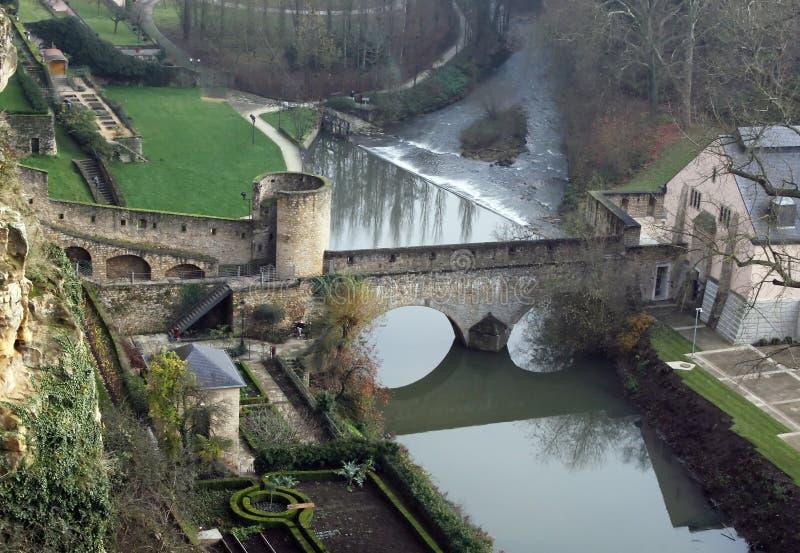 Mittelalterliche Verstärkungen in Luxemburg lizenzfreies stockfoto