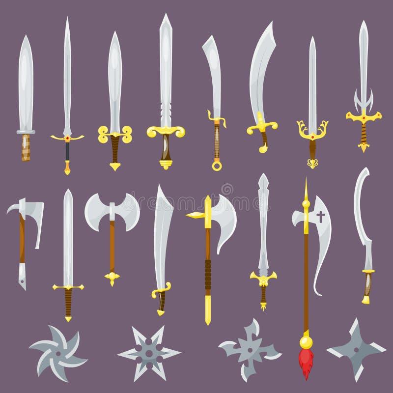 Mittelalterliche Waffe der Klinge des Ritters mit dem Broadswordsatz Illustration der scharfen Klinge und des Piratenmessers loka lizenzfreie abbildung