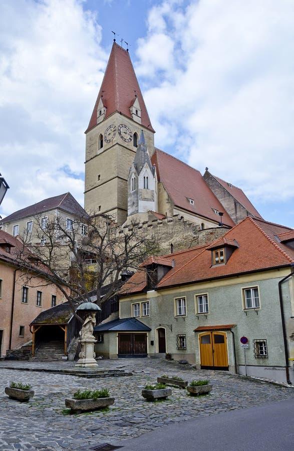 Mittelalterliche Wehrkirche Weissenkirchen lizenzfreies stockfoto