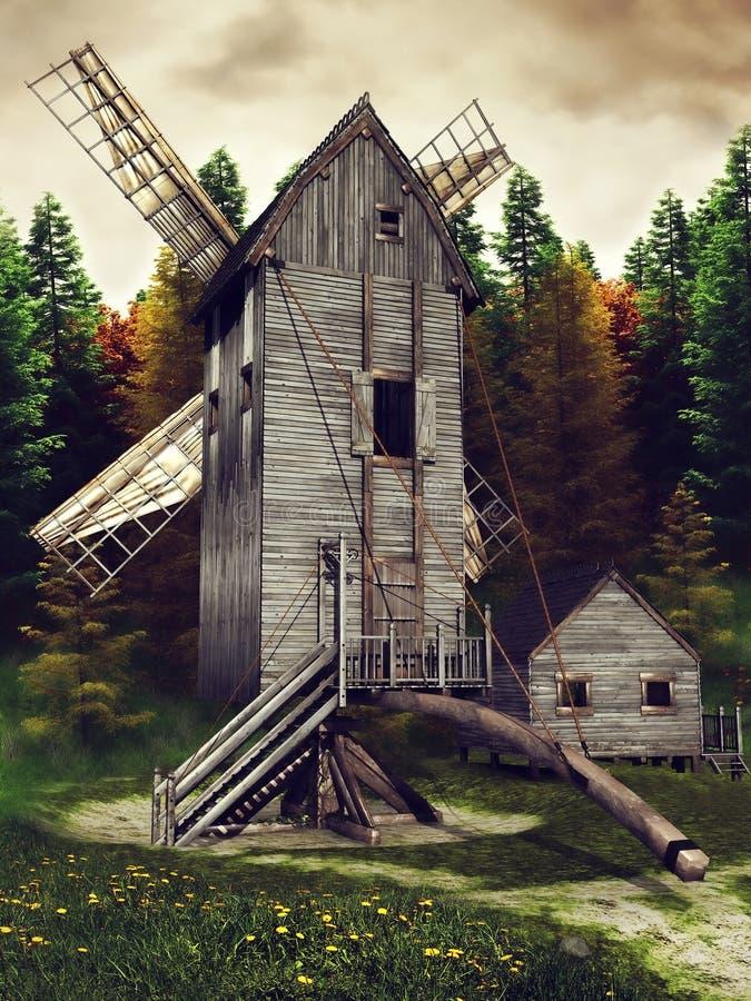 Mittelalterliche Windmühle und Halle vektor abbildung