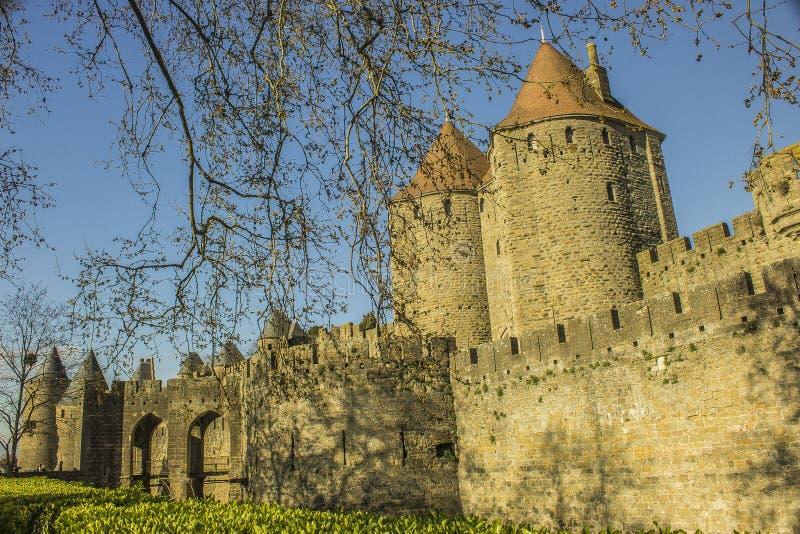 Mittelalterliche Zitadelle Carcassones stockfotografie