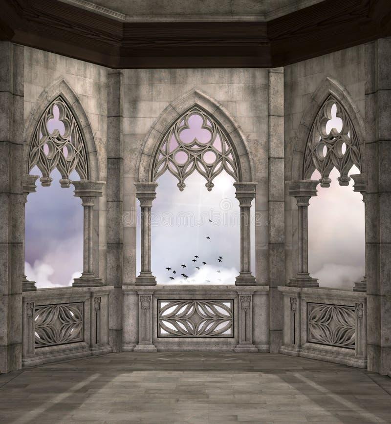 Mittelalterlicher Fantasiebalkon, der einen bewölkten Himmel übersieht stock abbildung
