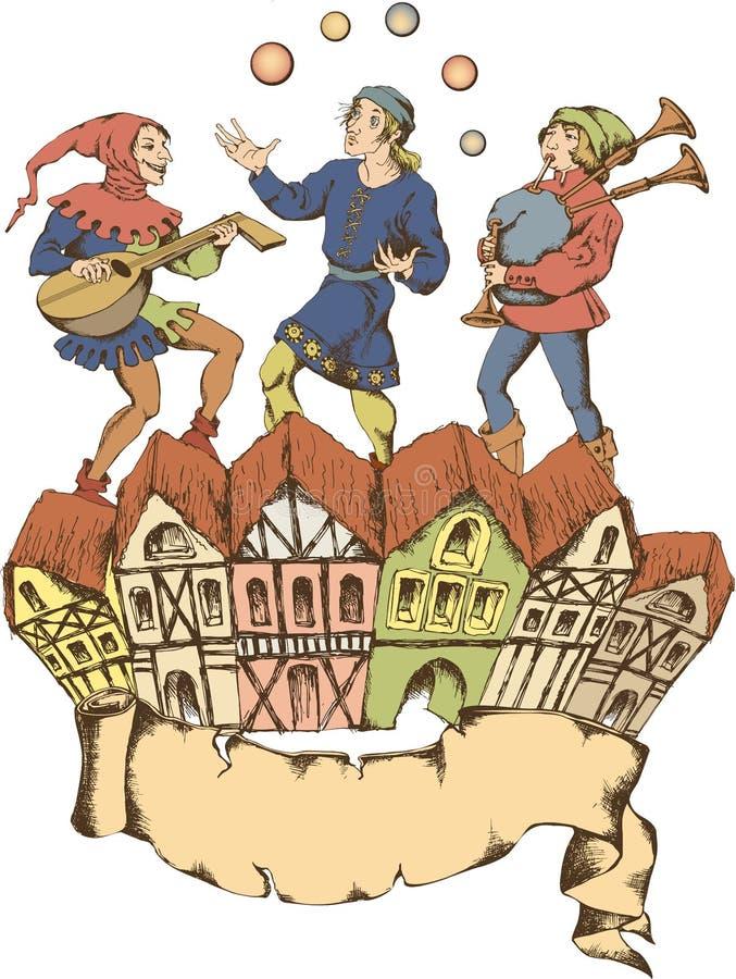 Mittelalterlicher Jongleur Egraved-Art stock abbildung