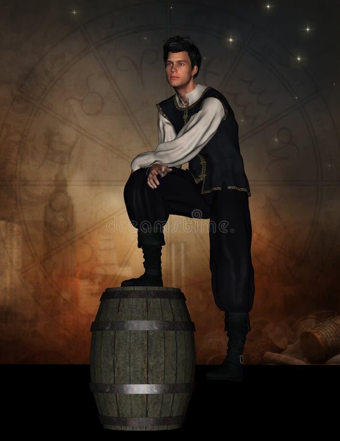 Mittelalterlicher Mann, der mit Fuß auf Fass steht stock abbildung
