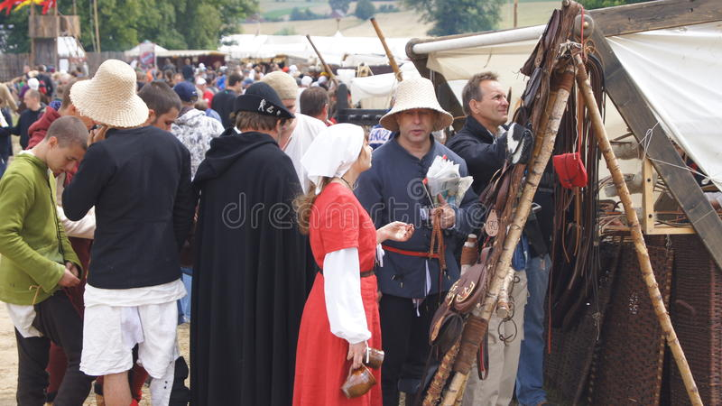 Mittelalterlicher Markt im grunwald stockfotos