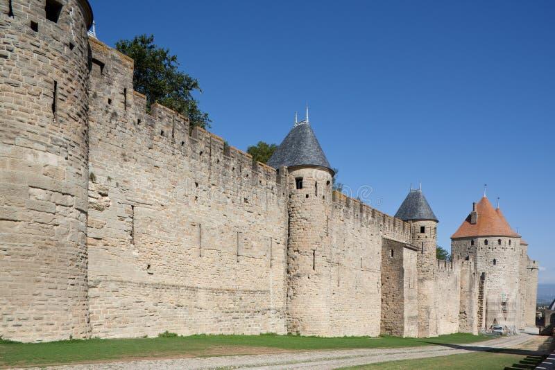 Mittelalterlicher Rampart von Carcassonne (Frankreich) lizenzfreie stockbilder