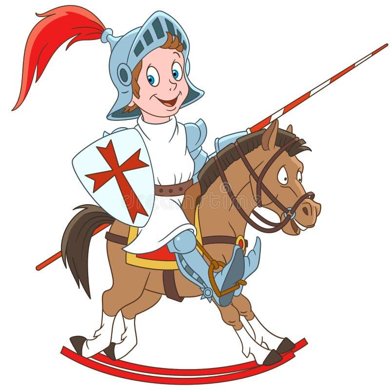 Mittelalterlicher Ritter der Karikatur, der ein Pferd reitet vektor abbildung