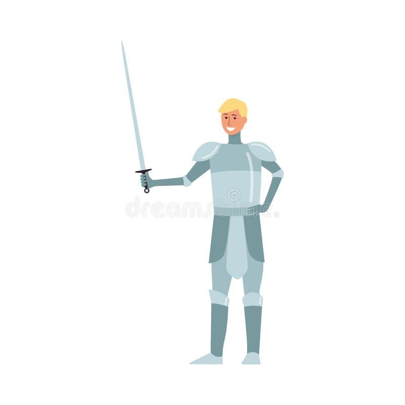 Mittelalterlicher Ritter des jungen Mannes blond vom Lächeln und von den Ständen Märchen in der Metallrüstung mit einer Klinge lizenzfreie abbildung