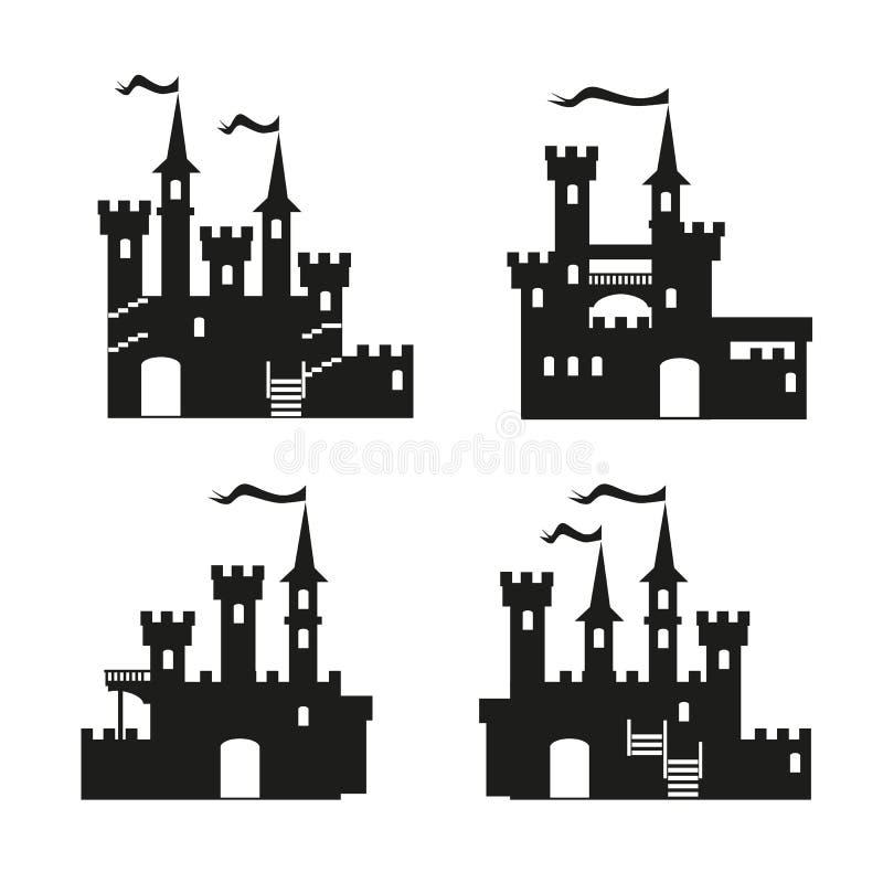 Mittelalterlicher Schlossikonen-Vektorsatz lizenzfreie abbildung