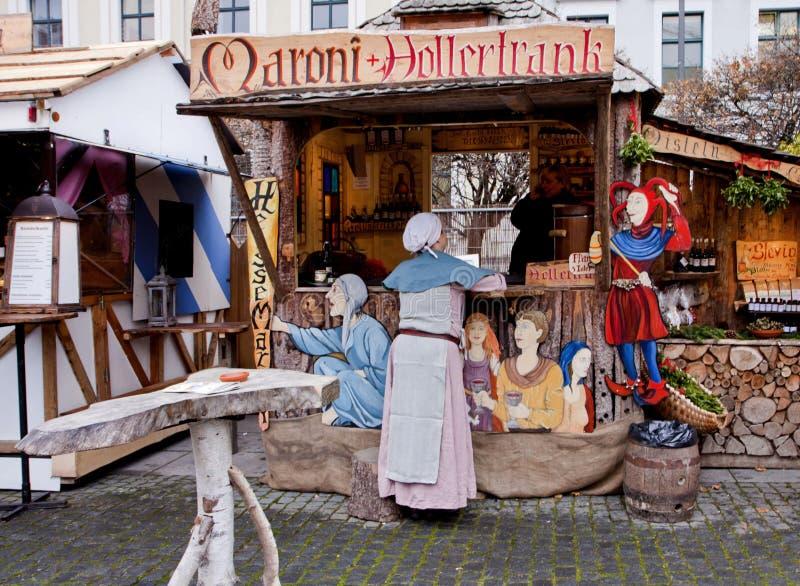 Mittelalterlicher Weihnachtsmarkt, München Deutschland stockfoto