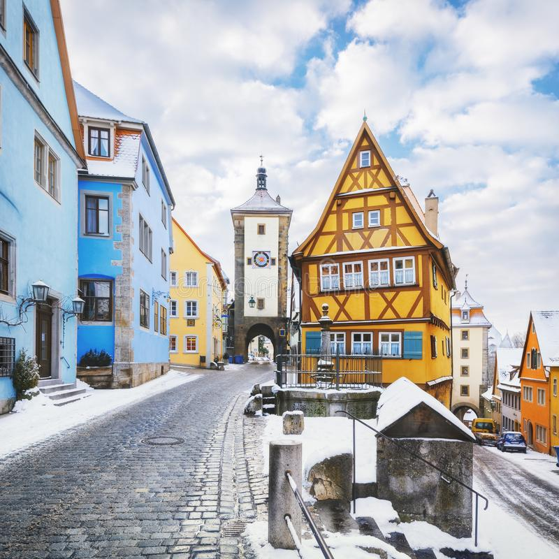 Mittelalterliches altes Rothenburg-ob der Tauber stockfotos