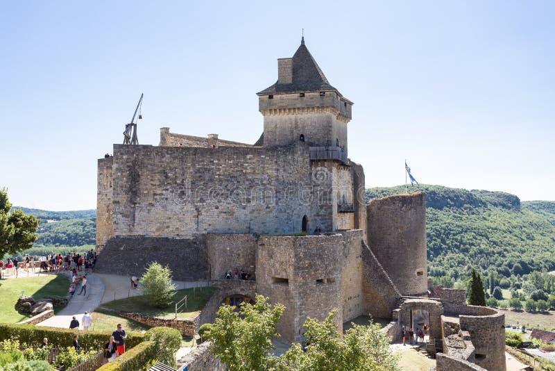 Mittelalterliches Castelnaud-Schloss in Frankreich Dordgone stockfotos