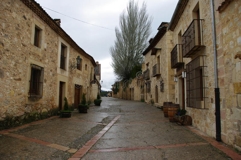 Mittelalterliches Dorf Pedraza, Spanien lizenzfreies stockbild