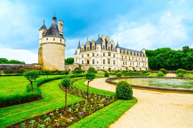 Mittelalterliches französisches Schloss und Pool Chateau de Chenonceau Unesco gar lizenzfreie stockfotos