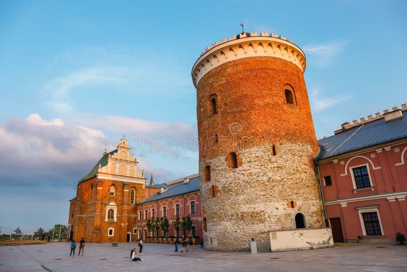 Mittelalterliches königliches Schloss in Lublin bei Sonnenuntergang, Polen lizenzfreies stockbild