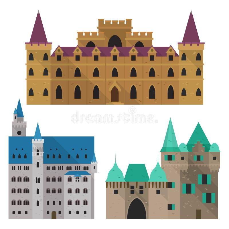 Mittelalterliches Karikaturschloss oder Zitadelle, Vorderansicht des Forts stock abbildung