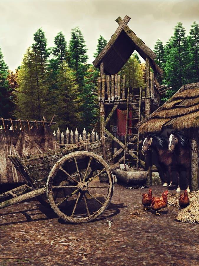 Mittelalterliches Lager im Wald stock abbildung