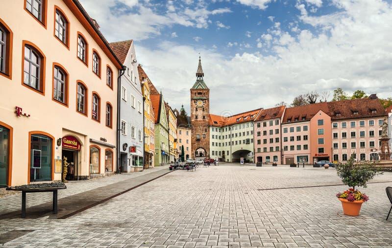Mittelalterliches lech Stadt-Landsberg morgens, Deutschland stockbilder